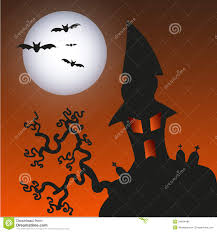 black cat halloween background haunted monster house halloween background vect stock photo