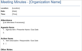 meeting minute template
