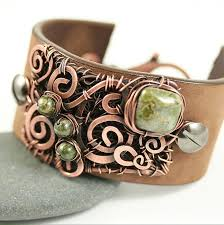 leather cuff wrap bracelet images Leather cuff bracelet copper wire wrap and beads by whimoriginals jpg