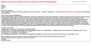 hotel assistant front office manager offer letter