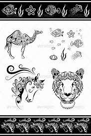 animal ornaments camel fish etc by comicvector703