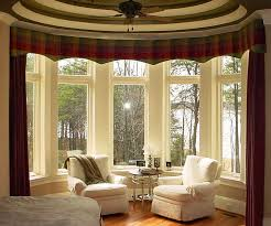 interior awesome large window treatment design with dark red