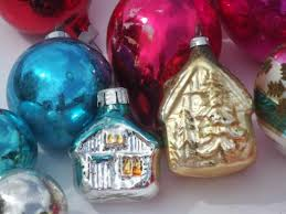 glass tree ornaments lot shiny brite glass balls etc