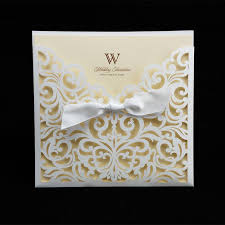 marriage invitation online ivory cheap laser cut wedding invitation packages 145 145mm
