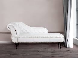 White Chaise Lounge Chaise Longue Chesterfield Right Hand Facing Chaise Faux
