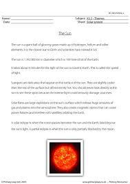 primaryleap co uk sun comprehension worksheet