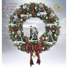 kinkade light of st nicholas wreath wreaths garl