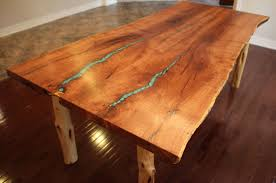 custom made turquoise inlay mesquite dining table by aaron smith