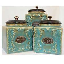 kitchen tea coffee sugar canisters moroccan aqua teal patterned tea coffee sugar canisters set of 3
