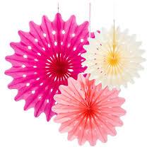 paper fan decorations pastel pink blush ivory x 3 wedding
