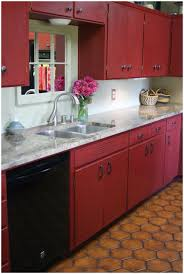 kitchen red storage units reloved rubbish primer red chalk ikea