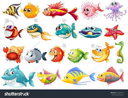 illustration different kinds fish stock vector 213856324