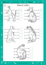 mixed tables dinosaur division math practice worksheet grade 2
