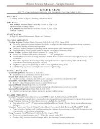 Sample Of A Teacher Resume Sample Resume For Physics Teacher Templates