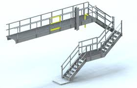 Handrailing Stair Platform U0026 Handrail Detailed Model Autocad 3d Cad