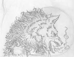 werewolf sketch and ink