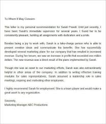 sample recommendation letter for employee from manager the