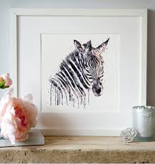 zebra head watercolor painting wall art zebra art wildlife zoom