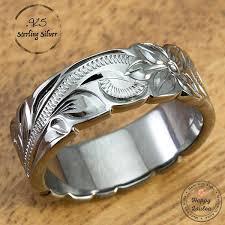 8mm ring sterling silver black rhodium 8mm ring engraved hawaiian en