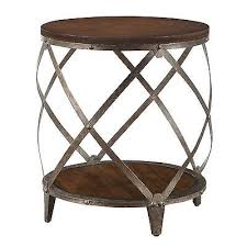 round wood accent table collection in oak accent table round oak brown wood metal drum