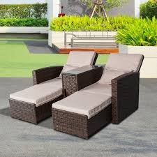 outsunny pc patio outdoor furniture rattan lounge set sofa wicker