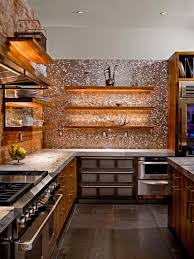 glass tile backsplash brown oak wood kitchen cabinet wall mounted