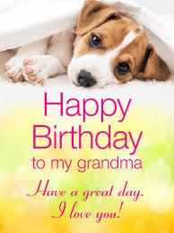 cheerful puppy happy birthday card for grandma birthday