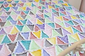 Purple Gray Turquoise And Purple by Pastel Triangle Rag Quilt In Pink Green Blue Purple Gray And