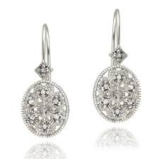 diamond earrings db designs sterling silver diamond accent filigree oval leverback