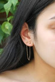 connecting earrings set of two connected earrings 2 piercings 14k gold filled