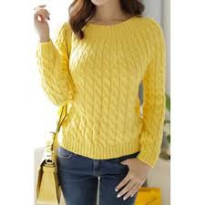 retro style s neck sleeve cable knit sweater