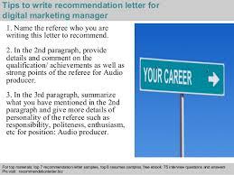 digital marketing manager recommendation letter