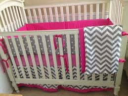 gray and pink crib bedding set 2399