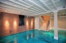 staining concrete floors basement contemporary with beige blue