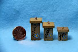 dollhouse miniature wooden canisters for kitchen square with
