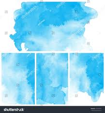 set abstract blue water color art stock illustration 114529372