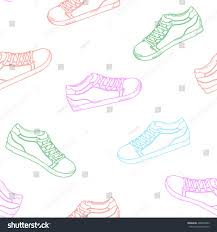 seamless pattern colored sneakers sports shoes stock vector