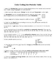 periodic table worksheet answer key color coding the periodic table worksheet answer key color of love