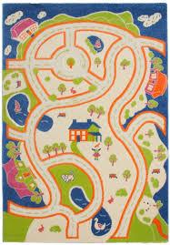 tapis chambre d enfants tapis pour enfant motif play moderne route bleu vert crème pas cher