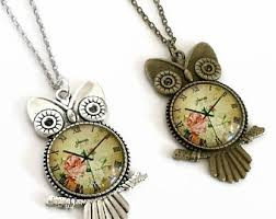 vintage owl pendant necklace images Owl pendant necklace etsy jpg