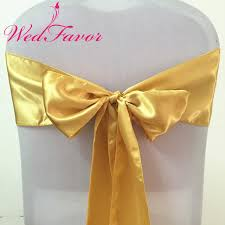 Wedding Chair Sash Online Shop Wedfavor 100pcs Gold Satin Wedding Chair Sash Ties