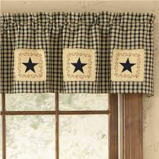 country straight valance curtains star patch lined pattern