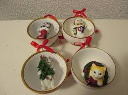 cats in a teacup ornaments set of 4