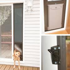 sliding glass door foot lock dog doors petsafe deluxe patio panels