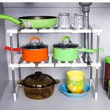Stackable Kitchen Cabinet Organizer Callas Expandable Stackable Kitchen Cabinet And Counter Shelf