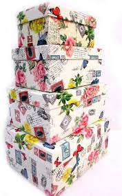 4 x floral shabby chic vintage stackable white storage boxes with