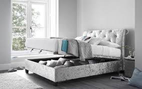 happy beds mercury scroll ottoman storage bed silver crushed