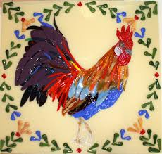 hand crafted quimper french rooster mural big tile for kitchen