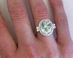 green amethyst engagement ring antique style green amethyst diamond halo engagement ring in 14k