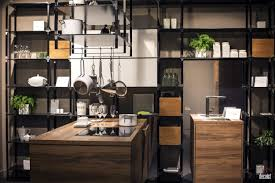 kitchen style open shelves industrial hanging light modern